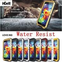 Original LOVE MEI Powerful Shockproof Dirtproof Water Resist Metal Case For Samsung Galaxy S5 G900 I9600 ,free shipping MOQ:1PCS