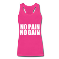 No Pain No Gain Light Blue Bodybuilding Vest Tops For Female Beauful