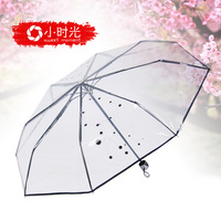 Small transparent umbrella time thickening folding princess umbrella transparent folding umbrella transparent umbrella