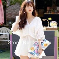 Fresh sweet little cute batwing sleeve shirt slim waist V-neck cutout embroidery 100% cotton one-piece dress