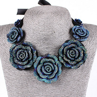 2014 women's Rose flower Exaggerated choker Necklaces & Pendants jewelry sets for women statement necklace TB59
