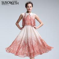 2014 fancy loose turn-down collar chiffon slim expansion bottom lyq-106 one-piece dress