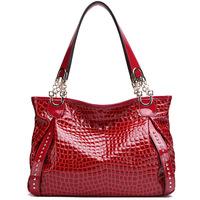 ( Red )2P0906  series Crocodile Embossing Handbag Split Leather Ladies' Handbag