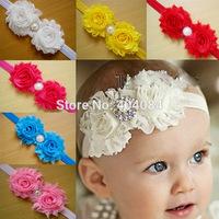 NEW  2014 Double Chiffon Shabby Rose Flowers With Alloy Rhinestone Kids Headbands Hiar Accessory 10color 12pcs/lot