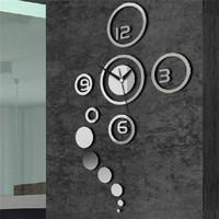 1PCS Free Shipping 3D Best Home Decoration Clock Mirror Wall Clock Wall Stickers Wallpaper DIY Clock,Unique Gift 670848