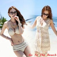 Bikini cutout 2014 steel push up beach bikini dress female swimwear swimsuit