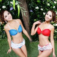 Classic fashion dress ruffle bikini hot spring female swimwear
