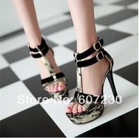 2014 hot sale gold patchwork sexy stiletto buckle platform sandals Women fashion sexy high heeled platfrom sandals shoes black