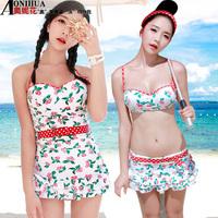 Red cherry - single bikini little big steel push up bikini piece set female hot spring swimwear