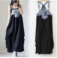 2014 Fashion summer pregnant clothes maternity clothing  long design  Denim Splicing maternity dresses