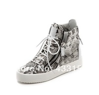 Free shipping 2014 New snake printed  Leather high top  Non-slip bottom GZ   men sneakers for Free shipping Free shipping
