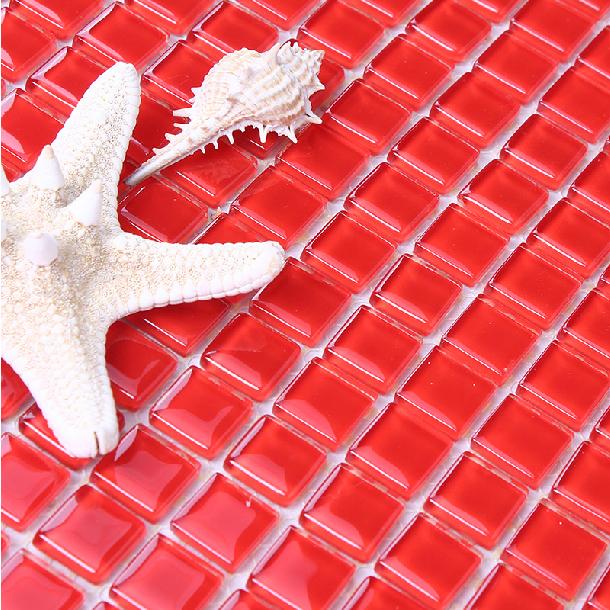 Rode Keuken Tegels : Red Glass Tile Kitchen Backsplash