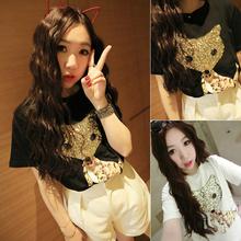 Summer Seconds Kill Sequined Animal Batwing Sleeve Fashion Women's Young Girl Cartoon Top 2015 Basic Shirt Short-sleeve T-shirt(China (Mainland))