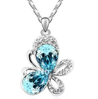 New Full Rhinestone Animal Pendants Necklace Butterfly Necklace  Austrian Crystal Necklaces
