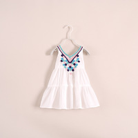 2014 new summer fashion girls dress embroidered straps, sleeveless dress beautiful girl