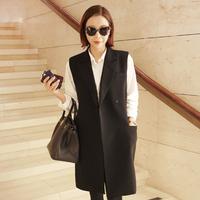 Summer black vest women's medium-long loose collar vest suit outerwear female