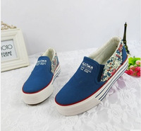 Free Shipping 2014 New Sneaker Height Increasing Canvas Rubber Shoes for Women