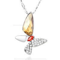 Austria crystal butterfly necklace pendant necklace female short design birthday gift