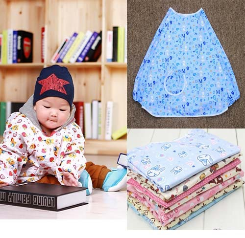 Big size waterproof feeding overall cotton painting smock kid kitchen apron overclothes 2-6years free shipping(China (Mainland))