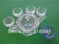 Fashion gift 5in1 Kung fu Coffee Tea Set Heat-Resisting Flower Teapot + Crystal Tea Pot Warmer +6pcs Wall Cups drop shipping!!!