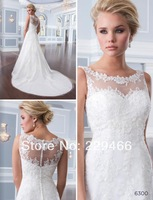 WZD5 New Modest A-line Sheer Lace Bridal Dress Wedding Gowns Covered Back Court train vestidos de noiva 2014 with straps