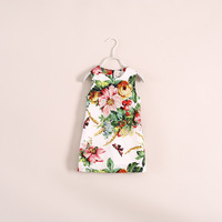 2014 new high quality brand design children girl sleeveless big flower butterfly print bohemian dress with hairbands