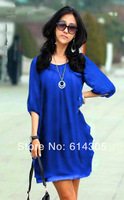 In Stock 2014 New Arrive Hot Sale Woman Chiffon Fashion Blue Casual Dress Vestidos Vintage Solid Large Size Straight Dress 4XL