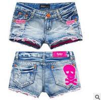 2014 new brand summer sexy denim jeans shorts women mid waist plus size feminino cotton destroyed Skull hot short pants KR622