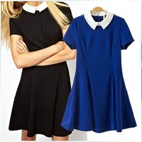 2014 new arrival women fashion peter pan collar colors match slim short sleeve dress/free shipping