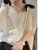 2015 summer new Korean casual line strapless bow sleeve women T-shirt