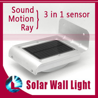 Sound Motion Ray 3 in 1 Sensor Solar Panel Outdoor 16 LED Wall Light waterproof IP65 garden lamp yard bulb