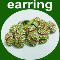 Mini Softball Rhinestone Stud Earrings - Yellow Crystal with Red Enamel Stripes