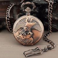 PQ073 - Bronze Retro Eagle Spreading its wings Style Men Quartz Pocket Watch + Chain