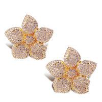 Top Quality Cubic Zirconia Women Flower Stud Earrings CZ Micro Pave Setting Bridal Wedding Fashion Jewelry Lead Free