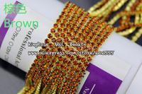 KQH154 wholesale brown Crystal Rhinestone Beads String Metal Chain Nail Art Decoration 3.5 meter  epacket shipping free