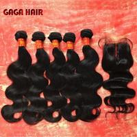 5A Brazilian Virgin Hair 6pcs lot body wave middle part Lace closure with 5 bundles Unprocessed Hair Extention Weft body wave