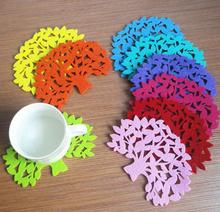 Coasters multicolour tree shape coaster /table mat insulation pad bowl pad heat insulation pad non-woven coaster m5082(China (Mainland))