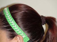 free shipping 2014 New softball/baseball Green Leather Seam Headband White Stitches wholesale