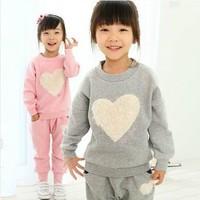 2013 New arrival Girls sets Heart suit shirt+pants 2pcs New Year gift babys clothing set kids children's Leisure sports suit