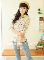 Free Shipping 2014 New Spring High Quality Women's Work Wear Shirt Cotton Dot Print Long Sleeve Blouse.A134