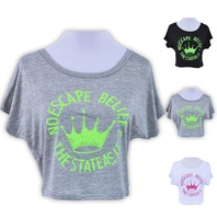 Cheap Brand Style 2014 Crop Top T-shirt For Women Neon Letter Crown Printed Short Loose Girl Shirt Short Sleeve Tee LXL053-10