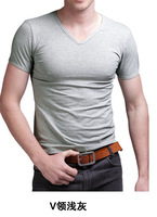 Free Shipping Fashion Brand New Men's GentleMen Slim Fit V-Neck Short Sleeve Bottoming Cotton Casual T-Shirt T Shirt