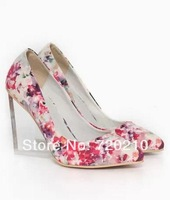Women's shoes 2014 romantic transparent crystal with wedges pointed toe low female high-heeled single shoes