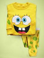 Free shipping,Wholesale 6sets Spring/Autumn yellow SpongeBob Children pyjamas, 100% cotton baby pajamas set, Children sleepwear