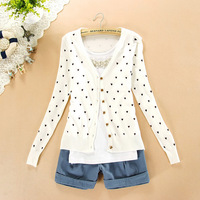 6544 Free shipping! Sweet peach heart cardigan sweater women wild peach heart sweater knit cardigan thin coat air conditioning