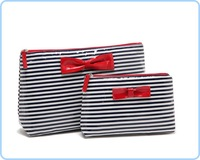 Free shipping 1pc  Primark brand Navy blue material with nice bow cosmetic bag, women day clutches handbag #69549