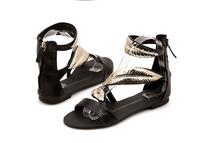 GZ  Fashion Metal 2014 Flame Gold Leaf Open Toe Comfortable  Leather Casual Flat Sandals 40 41 Plus Size Black Women Sandal