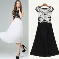 2014 Summer Flare Sleeve Empire Lace Embroidery Chiffon Long Dress Woman Fashion Slim Round Collar Cute Patchwork Party Dress