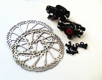 One Pair Mechanical Disc Brake Caliper with Rotor 160mm MTB Road Bike Cyle Front & Rear Caliper Black / white With Bolts