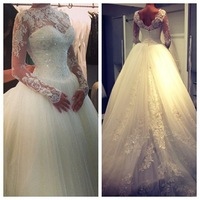 High Neck Lace Long Sleeves Beaded Ball Gown Elegant Princess Wedding Dress Full lace Fashion 2015 Spring Wedding Gowns